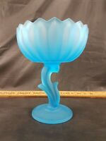"Blue Frosted Glass Stemmed Dish 6"" Round X 7.75"" Tall"