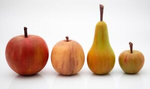 4 pieces vintage realistic carved & painted wooden fruit, Apples pear tangerine.