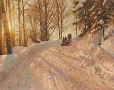 Monsted Mork Peder Winter Landscape With Sleigh Print 11 x 14    #3228