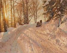 Monsted Mork Peder Winter Landscape With Sleigh Print 11 x 14    #3228