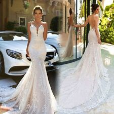 Mermaid Wedding Dresses Sleeveless Sheer Neck Sweep Train Sexy Bridal Gowns