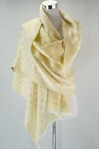 Stunning Silk Blend Shimmering Gold Metallic Luxury Look Pashmina Wrap
