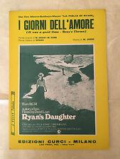 SPARTITO MUSICALE I GIORNI DELL'AMORE FILM LA FIGLIA DI RYAN M.DAVID M. CURB
