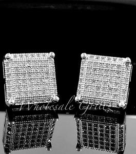 FLASHY! Mens 14k White Gold GP CUSTOM Simulate Diamond Prong XL HIP HOP Earrings