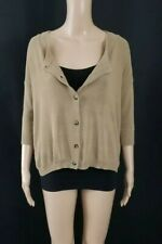 THEORY Tan Camel Button Front Split Back 3/4 Sleeve Cardigan Sweater Top Sz S