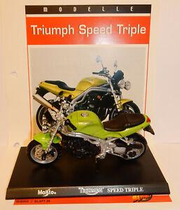 MAISTO METAL 1/18 MOTO MOTORCYCLE TRIUMPH SPEED TRIPLE avec support