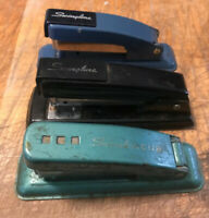 "Lot Of 3 Vintage 5.25"" Swingline Staplers  Black Blue Green * Read Description"