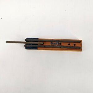 Vintage Smith's Sure Sharp Knife Sharpener Ceramic Rods Cedar Base