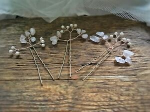 Rose quartz Hair pin vine Rose Gold Hairpiece flower girl bride bridesmaid prom