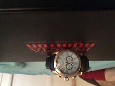 Men's watch Swiss legend black leather band blue face good condition