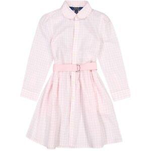 Polo Ralph Lauren Girls PINK/WHITE Gingham Fit-&-Flare Shirt Dress 4/4T