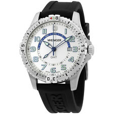 Wenger Squadron White Dial Black Silicone Strap Men's Watch 77070