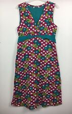 White Stuff Pink Blue Dot Floral Sleeveless Tie Back V Neck Dress Sz 10 - (B18)