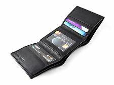 New Black Leather Men's RFID Small Slim Trifold Wallet Credit Card ID Holder