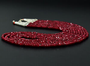 Royal 353 Cts Earth Mined 5 Strand Red Ruby Round Cut Beads Necklace JK 30E292