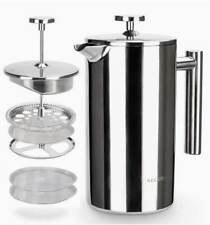 34 OZ.. STAINLESS STEEL FRENCH COFFEE MAKER INSULATED W/ 2 EXTRA SCREENS