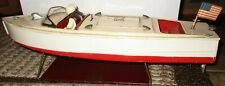 Antique Pre-War Lionel Craft Metal Windup Toy Speed Boat with Stand, works 17""