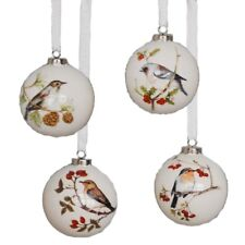 Set of 4 HOLIDAY BIRD Ball Christmas Ornaments, Dolomite, by Midwest CBK