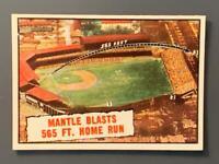 1961 Topps #406 Mickey Mantle Blasts 565 Ft Home Run NM New York Yankees HOF