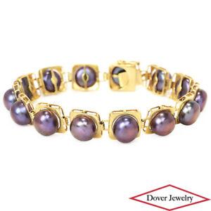 Estate Black Pearl 14K Gold Beautiful Link Bracelet 16.4 Grams NR