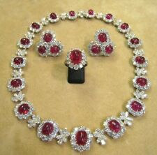 PRECIOUS GEMSTONES RUBY OVAL CABOCHON NECKLACE EARRINGS WITH RING IN 92.5 SILVER