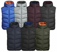 JACK & JONES Men's Quilt Puffer Bodywarmer Lightly Padded Warm Hooded Gilet