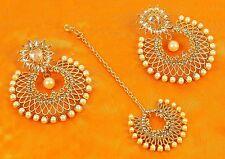 10201 Designer Wedding Earring Maang Tikka Set White Pearl Stone Polki Jewelry