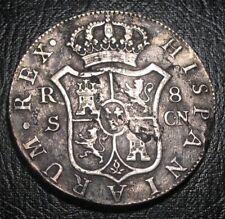 RARE SILVER 1795 COLONIAL COIN CARLOS IV 8 Reales SEVILLA CN SPAIN PIECE OF 8