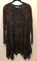 New! PL Soft Surroundings Long Sleeve Jersey Stretch Tunic Top Floral Black Gray