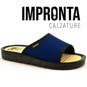 Ciabatte  Saniflex art 5.1 Blu Uomo Sottopiede Legno Fascia Mare Made In Italy