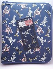 "Vtg 90s Looney Tunes Binder Zip Up 3 Ring Bugs Bunny Taz Daffy Pencil Case 1.5"""