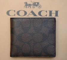 100 Authentic Mens DESIGNER Coach Leather Wallet Mahogany Brown F75006