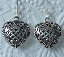 Beautiful Victorian Style Sterling Silver Pierced Heart Earrings, Konder #1023
