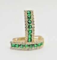 2 Ct 14K Solid Yellow Gold Created Diamonds Green Emerald Wave Huggie Earrings