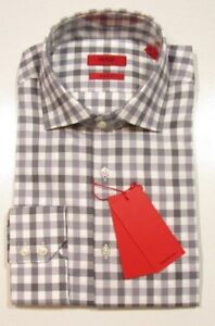 "Hugo Hugo Boss Red Label ""C-Gerald"" Gray Check Gingham Regular Fit Dress Shirt"