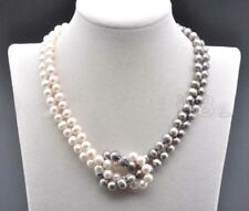 18INCH 8-9MM NATURAL SOUTH SEA WHITE GRAY PEARL NECKLACE 14k clasp