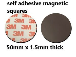 Self Adhesive Magnetic Tape Discs 3M Backing 50mm round x 1.5mm in chosen amount