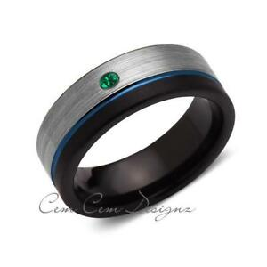 8mm,Green Emerald,Mens Diamond Ring,Gray,Black Brushed, Blue Groove,Tungsten Rin