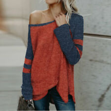 Womens One Off Shoulder V Neck Casual Loose Sweater Jumper Pullover Knitted Tops