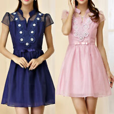 Collar Floral Dresses for Women with Cap Sleeve