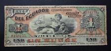 ECUADOR BANKNOTE 1 Sucre, Pick S151c F+ 1901 (Banco del Ecuador)