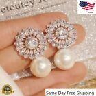 Elegant 925 Silver Drop Earrings For Women White Pearl Jewelry A Pair/set