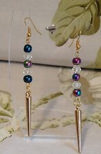 Shimmering Greens Blue Purple Gold Beaded Spike Dangle Pierced Earrings