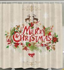 Merry Christmas Reindeer Fabric SHOWER CURTAIN Holly Birds Leaves Pine Bathroom