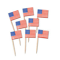 50 USA AMERICAN FLAG PICKS FOOD CAKE CUPCAKE TOPPERS AMERICA 4TH JULY PARTY