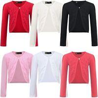 Girls Open Front Bolero Shrug Kids Long Sleeve Cardigan Jacket Top 3-14 Y