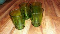 Vintage Depression Glass Green Glass Tumblers Set Of  4