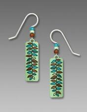 Adajio Earrings Soft Apple Green Column with Amber & Turquoise Fern Leaf Pattern