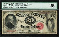 1880 $20 Legal Tender FR-147 - SUPER RARE - Graded PMG 25 - Very Fine