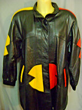 Vintage Womens Colorful 80s LEATHER WAIST Coat Jacket  SIZE M SZ L SZ XL RETRO